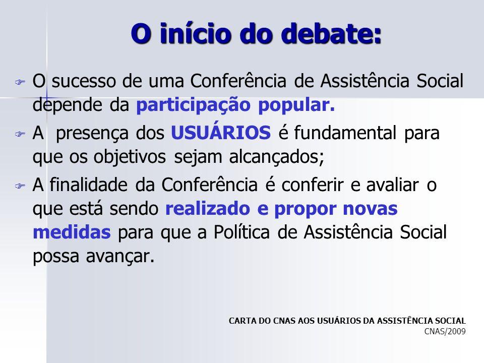 O início do debate: O sucesso de uma Conferência de Assistência Social depende da participação popular. A presença dos USUÁRIOS é fundamental para que