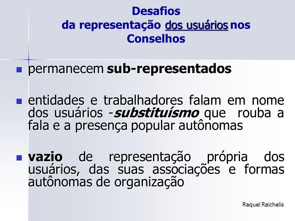 dos usuários Desafios da representação dos usuários nos Conselhos permanecem sub-representados permanecem sub-representados entidades e trabalhadores