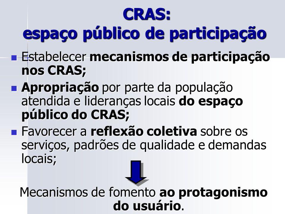 CRAS: espaço público de participação CRAS: espaço público de participação Estabelecer mecanismos de participação nos CRAS; Estabelecer mecanismos de p