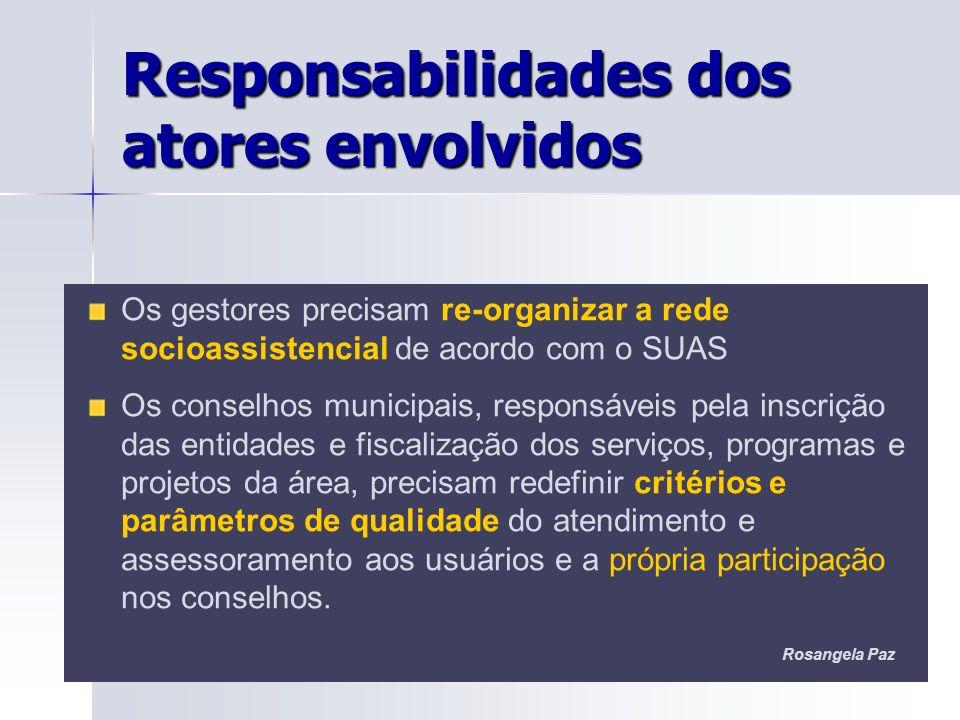 Os gestores precisam re-organizar a rede socioassistencial de acordo com o SUAS Os conselhos municipais, responsáveis pela inscrição das entidades e f