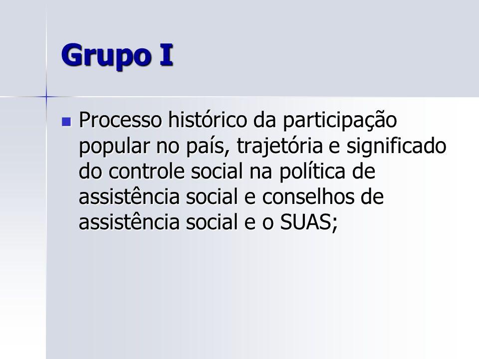 Grupo I Processo histórico da participação popular no país, trajetória e significado do controle social na política de assistência social e conselhos