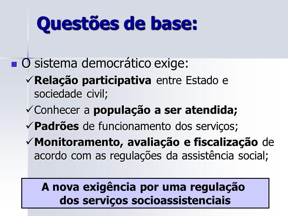 Questões de base: O sistema democrático exige: O sistema democrático exige: Relação participativa entre Estado e sociedade civil; Relação participativ