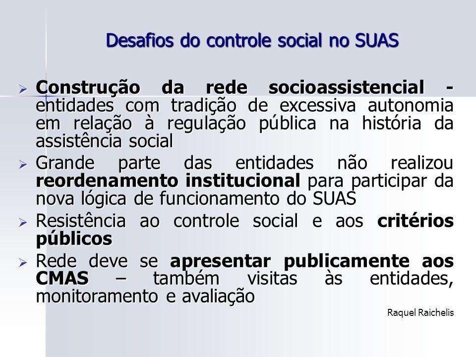 Desafios do controle social no SUAS Construção da rede socioassistencial - entidades com tradição de excessiva autonomia em relação à regulação públic