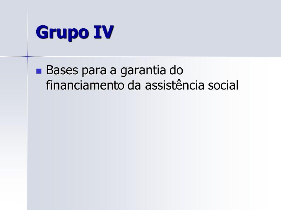 Grupo IV Bases para a garantia do financiamento da assistência social Bases para a garantia do financiamento da assistência social