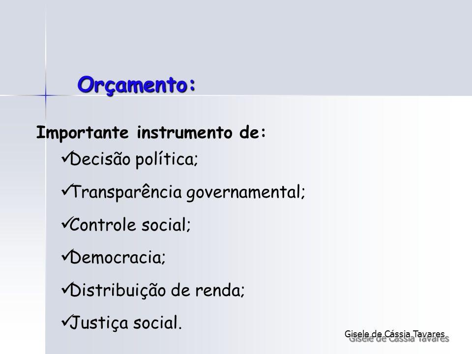 Orçamento: Importante instrumento de: Decisão política; Transparência governamental; Controle social; Democracia; Distribuição de renda; Justiça socia