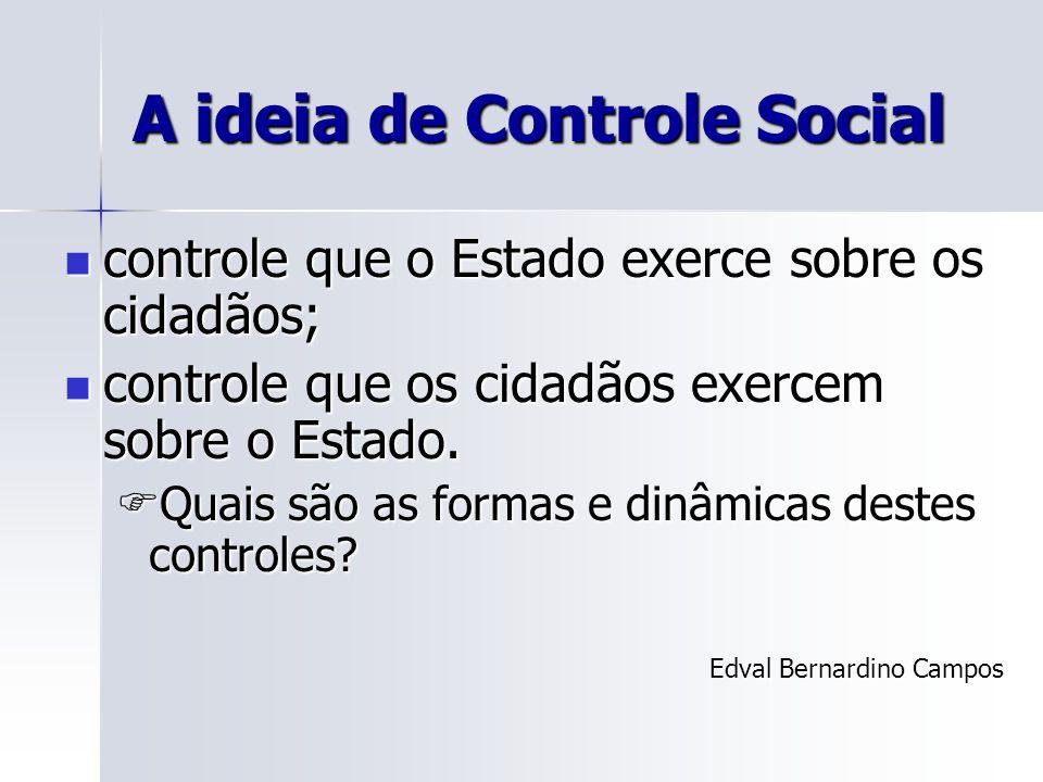 A ideia de Controle Social controle que o Estado exerce sobre os cidadãos; controle que o Estado exerce sobre os cidadãos; controle que os cidadãos ex