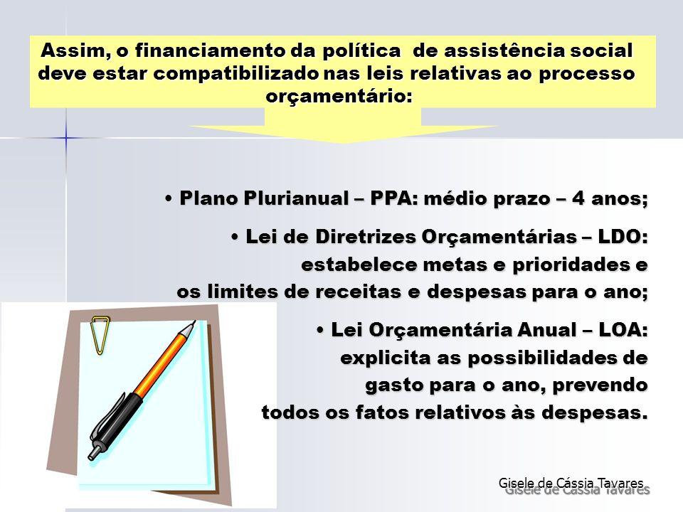 Assim, o financiamento da política de assistência social deve estar compatibilizado nas leis relativas ao processo orçamentário: Plano Plurianual – PP