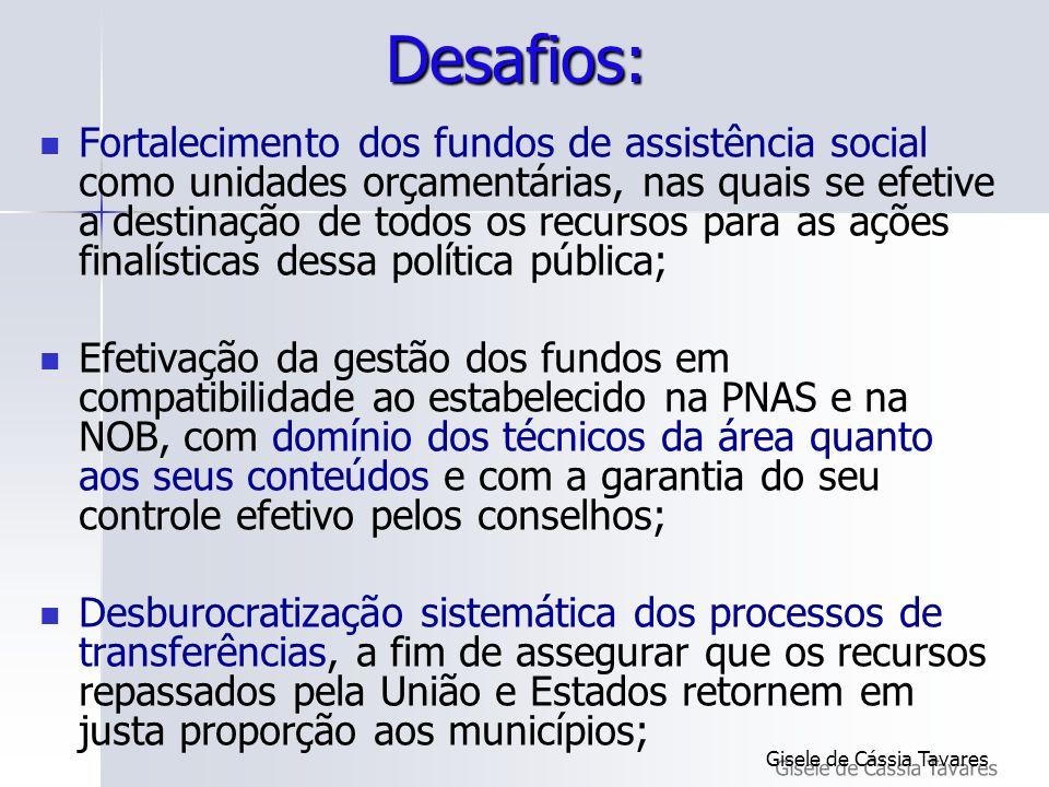 Desafios: Fortalecimento dos fundos de assistência social como unidades orçamentárias, nas quais se efetive a destinação de todos os recursos para as