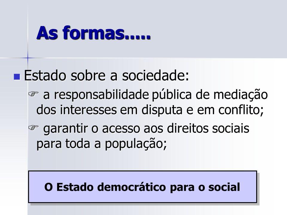 As formas..... Estado sobre a sociedade: Estado sobre a sociedade: a responsabilidade pública de mediação dos interesses em disputa e em conflito; a r