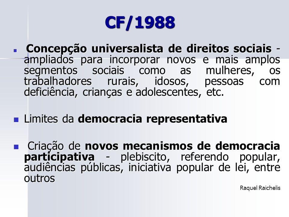 CF/1988 Concepção universalista de direitos sociais - ampliados para incorporar novos e mais amplos segmentos sociais como as mulheres, os trabalhador