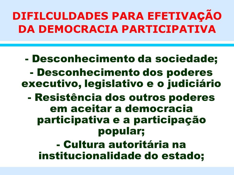 DIFILCULDADES PARA EFETIVA Ç ÃO DA DEMOCRACIA PARTICIPATIVA l - Desconhecimento da sociedade; l - Desconhecimento dos poderes executivo, legislativo e