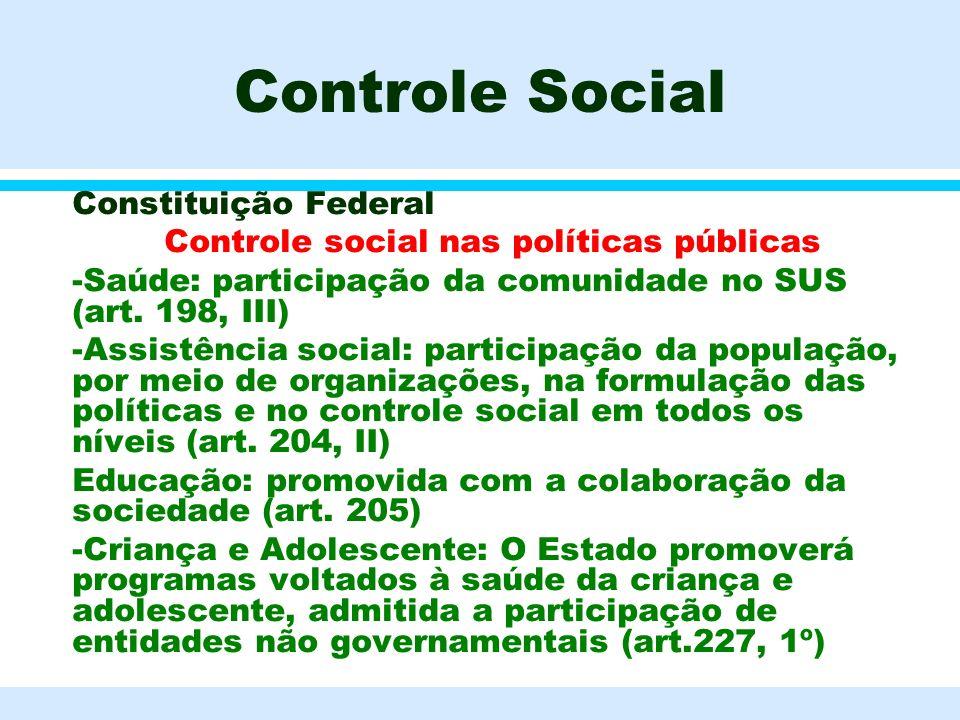Controle Social l Constituição Federal l Controle social nas políticas públicas l -Saúde: participação da comunidade no SUS (art. 198, III) l -Assistê