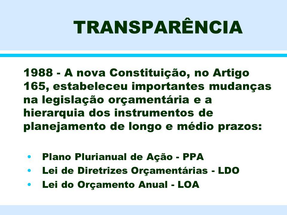 TRANSPARÊNCIA l 1988 - A nova Constituição, no Artigo 165, estabeleceu importantes mudanças na legislação orçamentária e a hierarquia dos instrumentos