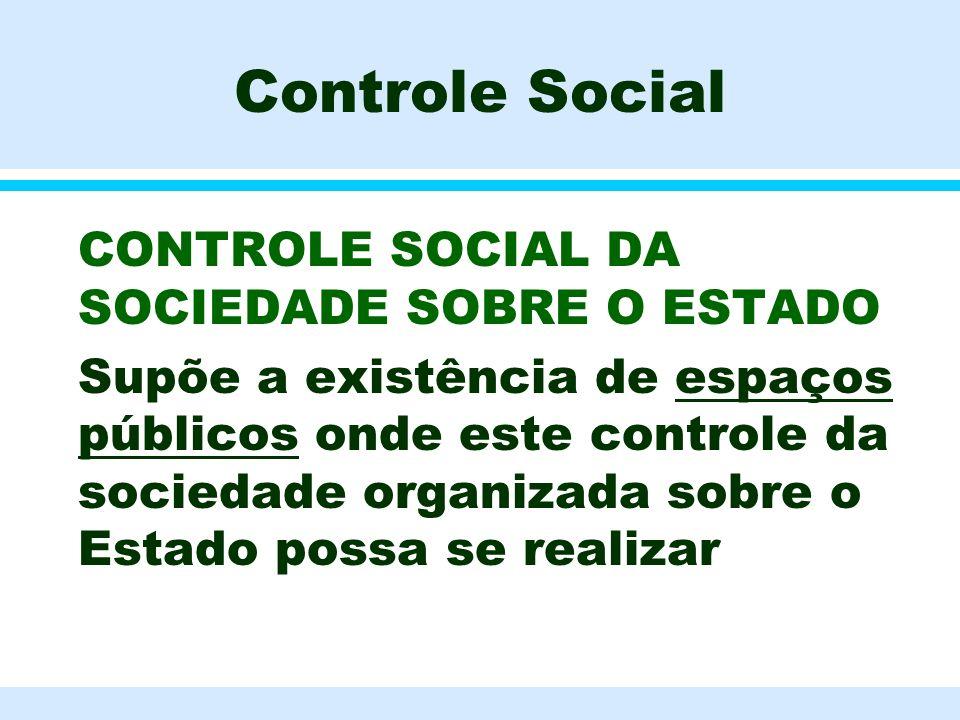 Controle Social l CONTROLE SOCIAL DA SOCIEDADE SOBRE O ESTADO l Supõe a existência de espaços públicos onde este controle da sociedade organizada sobr