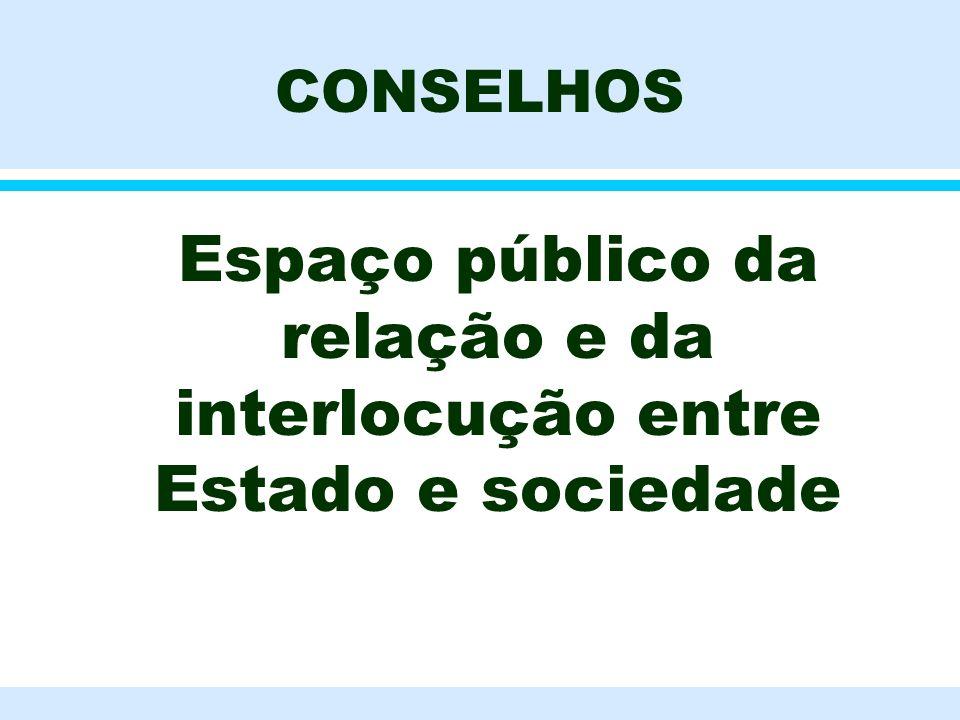 CONSELHOS l Espaço público da relação e da interlocução entre Estado e sociedade