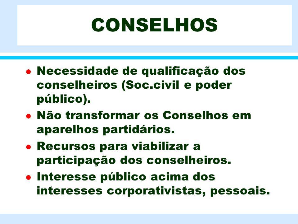 l Necessidade de qualificação dos conselheiros (Soc.civil e poder público). l Não transformar os Conselhos em aparelhos partidários. l Recursos para v