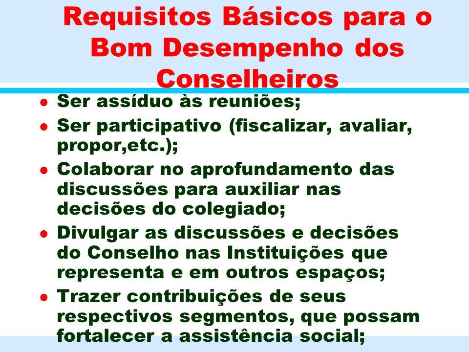 Requisitos Básicos para o Bom Desempenho dos Conselheiros l Ser assíduo às reuniões; l Ser participativo (fiscalizar, avaliar, propor,etc.); l Colabor