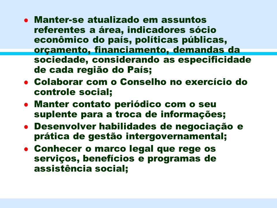 . l Manter-se atualizado em assuntos referentes a área, indicadores sócio econômico do país, políticas públicas, orçamento, financiamento, demandas da