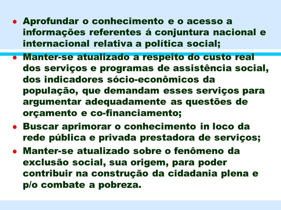 l Aprofundar o conhecimento e o acesso a informações referentes á conjuntura nacional e internacional relativa a política social; l Manter-se atualiza