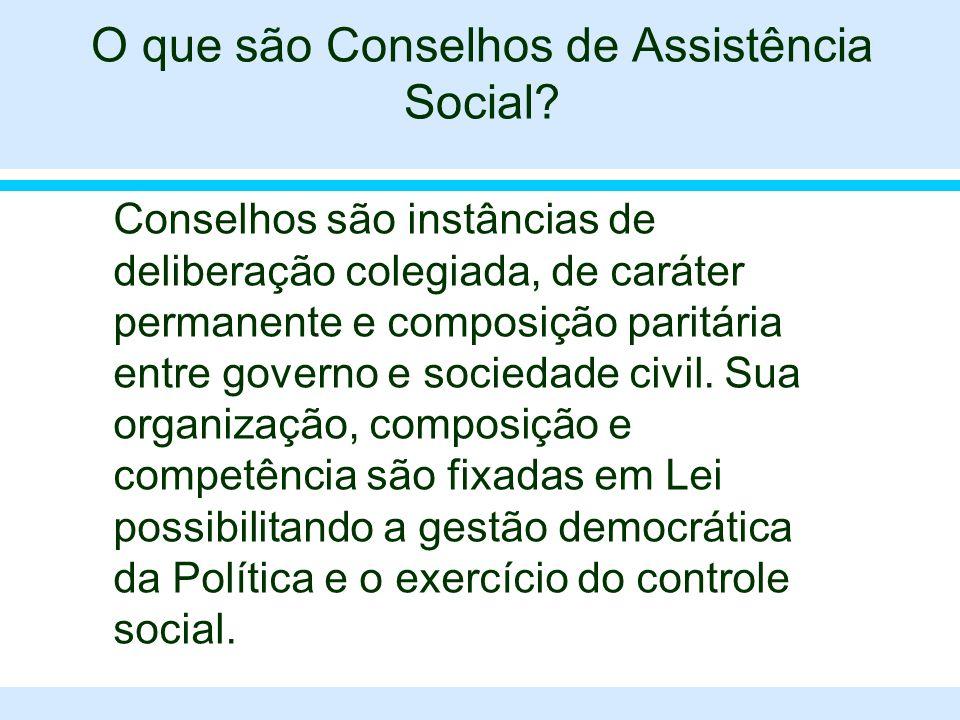 O que são Conselhos de Assistência Social? l Conselhos são instâncias de deliberação colegiada, de caráter permanente e composição paritária entre gov