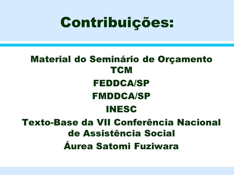 Contribuições: l Material do Seminário de Orçamento TCM l FEDDCA/SP l FMDDCA/SP l INESC l Texto-Base da VII Conferência Nacional de Assistência Social