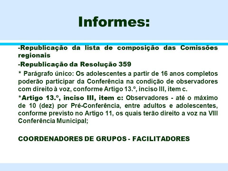 Informes: l -Republicação da lista de composição das Comissões regionais l -Republicação da Resolução 359 * Parágrafo único: Os adolescentes a partir