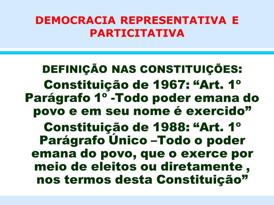 DEMOCRACIA REPRESENTATIVA E PARTICITATIVA l DEFINIÇÃO NAS CONSTITUIÇÕES : l Constituição de 1967: Art. 1º Parágrafo 1º -Todo poder emana do povo e em