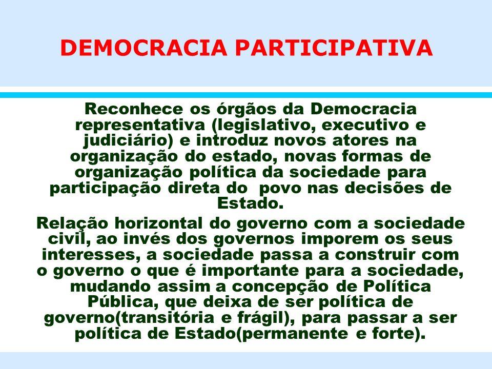 DEMOCRACIA PARTICIPATIVA l Reconhece os órgãos da Democracia representativa (legislativo, executivo e judiciário) e introduz novos atores na organizaç