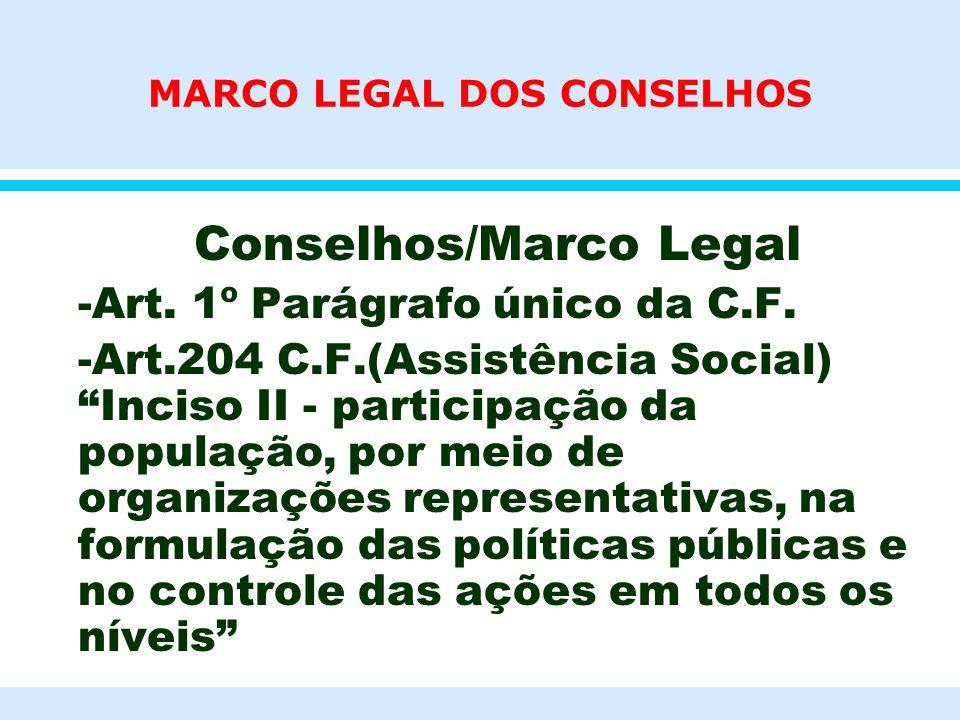 MARCO LEGAL DOS CONSELHOS l Conselhos/Marco Legal l -Art. 1º Parágrafo único da C.F. l -Art.204 C.F.(Assistência Social) Inciso II - participação da p