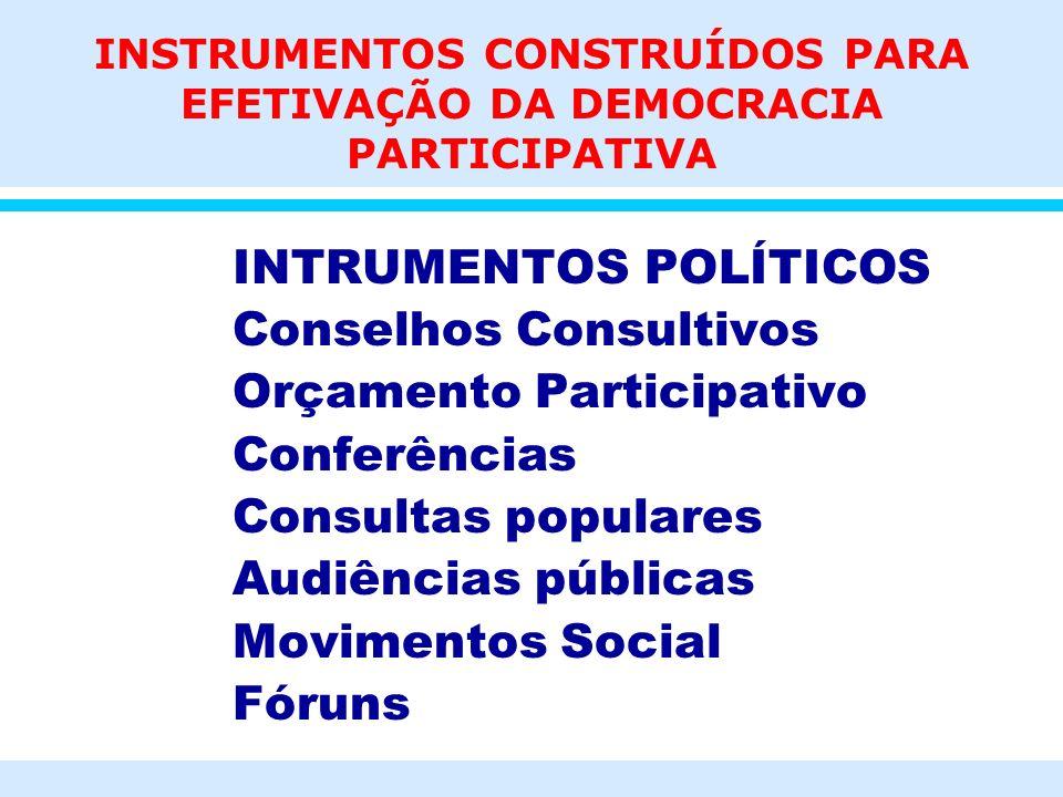 INSTRUMENTOS CONSTRUÍDOS PARA EFETIVAÇÃO DA DEMOCRACIA PARTICIPATIVA INTRUMENTOS POLÍTICOS Conselhos Consultivos Orçamento Participativo Conferências
