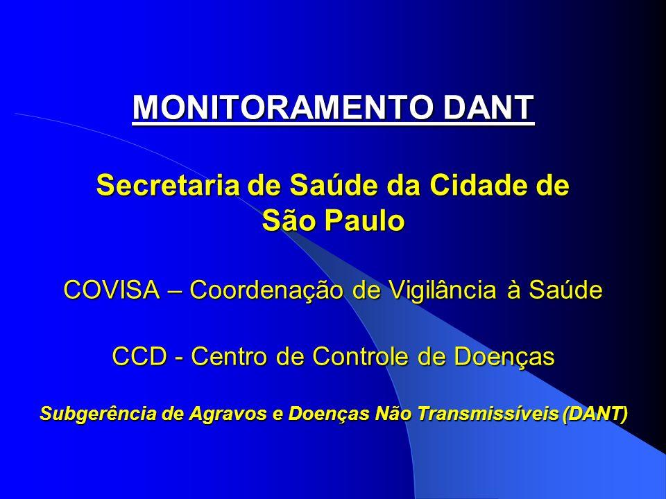 MONITORAMENTO DANT Secretaria de Saúde da Cidade de São Paulo COVISA – Coordenação de Vigilância à Saúde CCD - Centro de Controle de Doenças Subgerênc