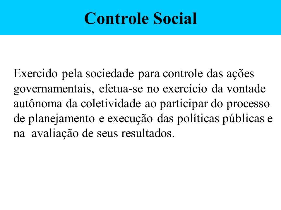 Controle Social Exercido pela sociedade para controle das ações governamentais, efetua-se no exercício da vontade autônoma da coletividade ao particip
