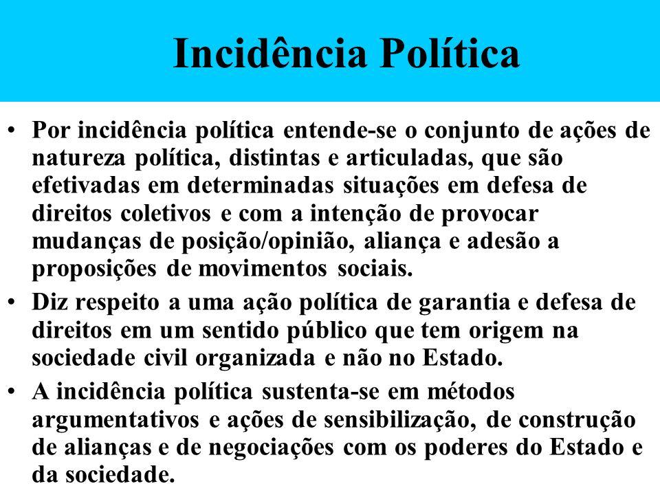 Incidência Política Por incidência política entende-se o conjunto de ações de natureza política, distintas e articuladas, que são efetivadas em determ
