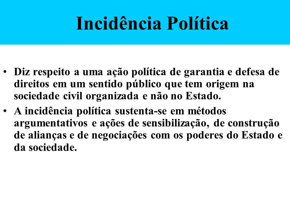 Incidência Política Diz respeito a uma ação política de garantia e defesa de direitos em um sentido público que tem origem na sociedade civil organiza