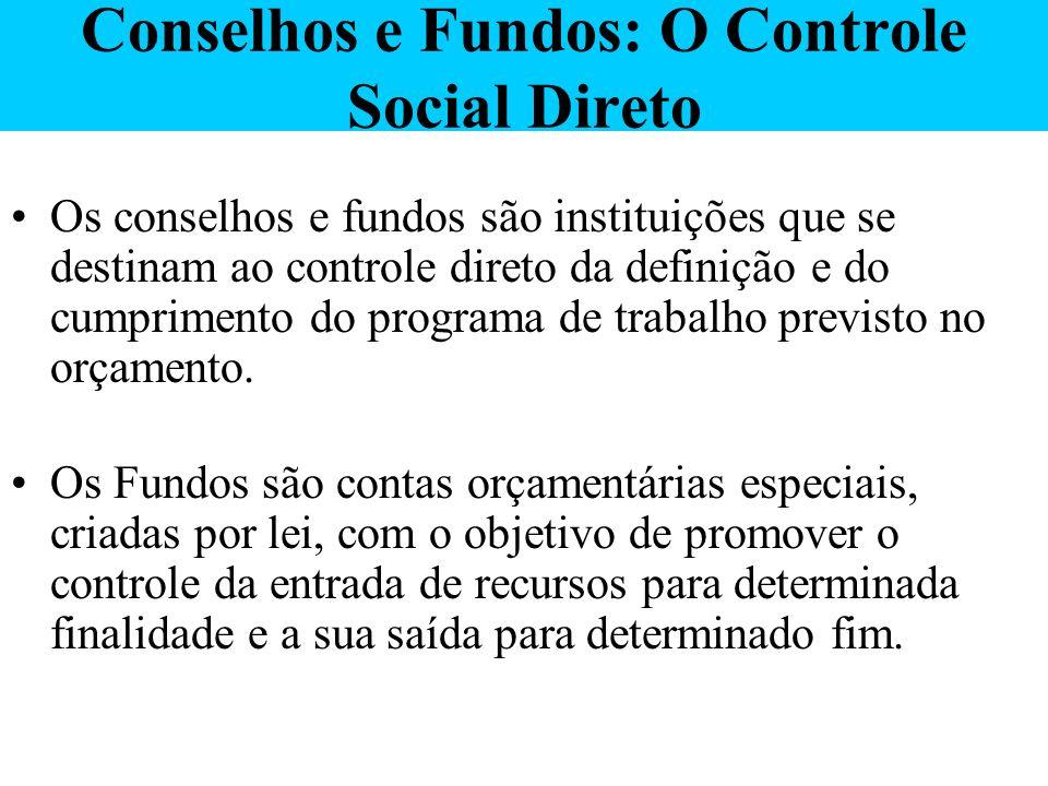 Conselhos e Fundos: O Controle Social Direto Os conselhos e fundos são instituições que se destinam ao controle direto da definição e do cumprimento d