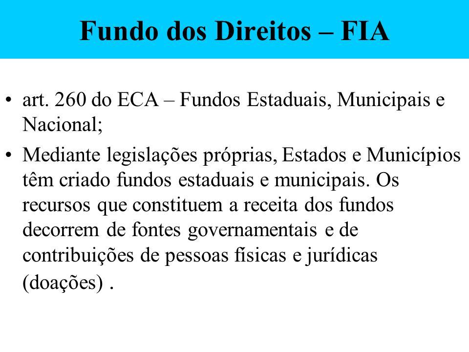 Fundo dos Direitos – FIA art. 260 do ECA – Fundos Estaduais, Municipais e Nacional; Mediante legislações próprias, Estados e Municípios têm criado fun