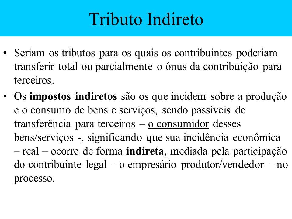 Tributo Indireto Seriam os tributos para os quais os contribuintes poderiam transferir total ou parcialmente o ônus da contribuição para terceiros. Os