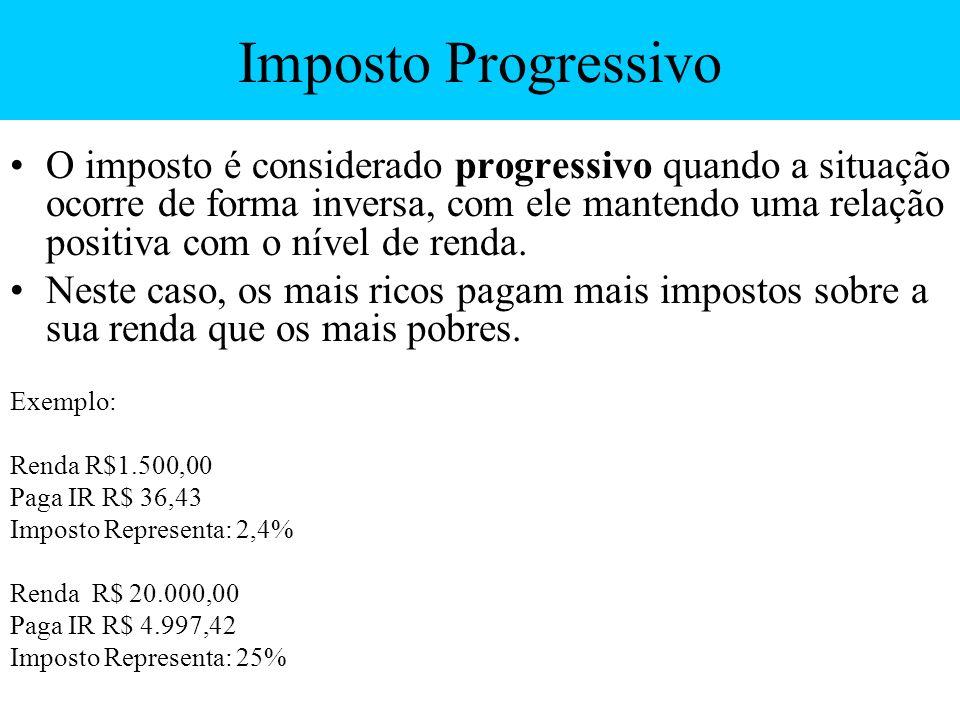 Imposto Progressivo O imposto é considerado progressivo quando a situação ocorre de forma inversa, com ele mantendo uma relação positiva com o nível d