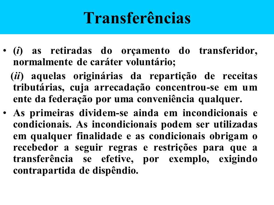 Transferências (i) as retiradas do orçamento do transferidor, normalmente de caráter voluntário; (ii) aquelas originárias da repartição de receitas tr