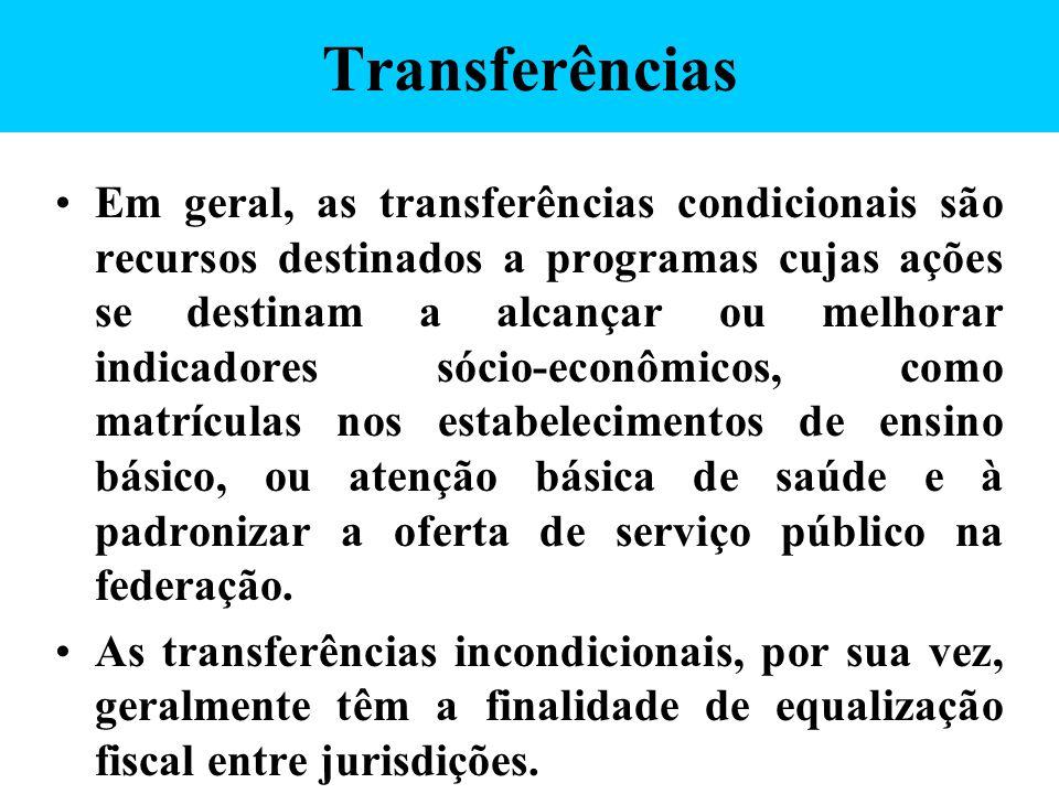 Transferências Em geral, as transferências condicionais são recursos destinados a programas cujas ações se destinam a alcançar ou melhorar indicadores