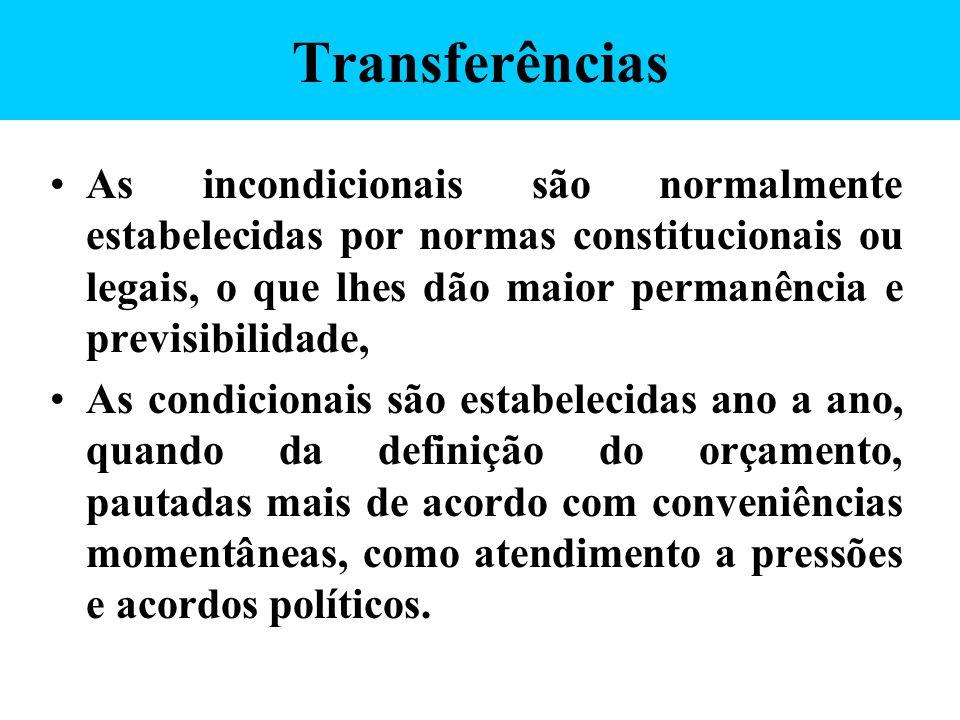 Transferências As incondicionais são normalmente estabelecidas por normas constitucionais ou legais, o que lhes dão maior permanência e previsibilidad