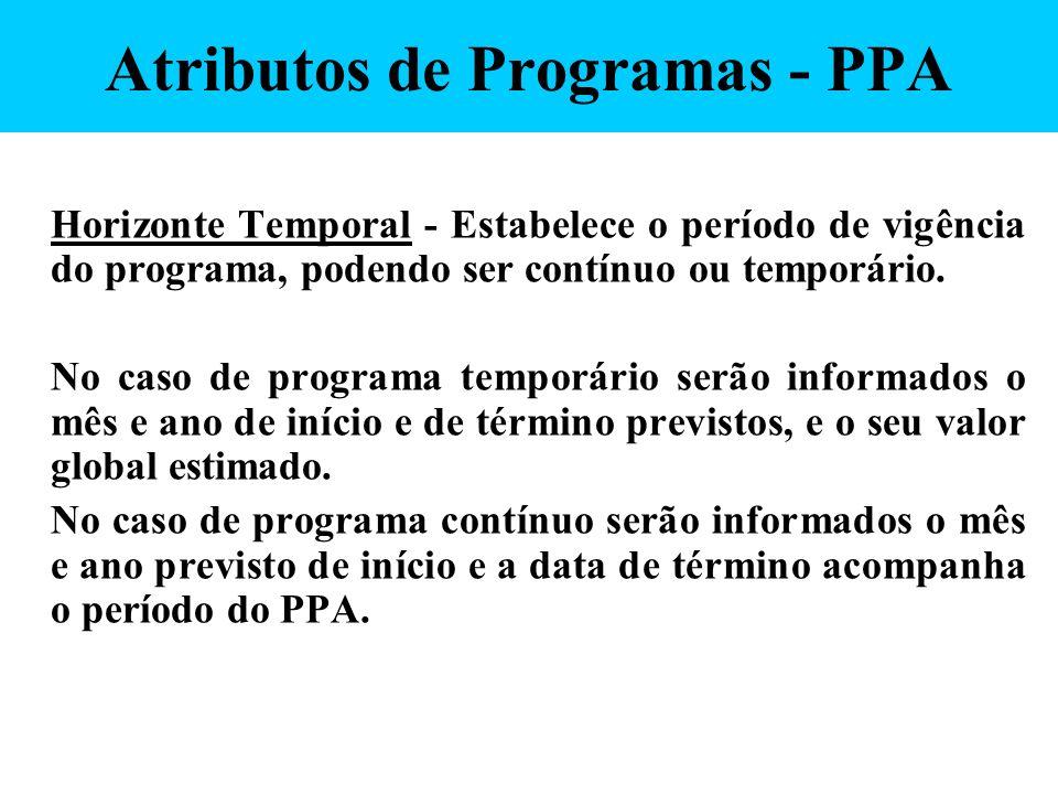 Atributos de Programas - PPA Horizonte Temporal - Estabelece o período de vigência do programa, podendo ser contínuo ou temporário. No caso de program