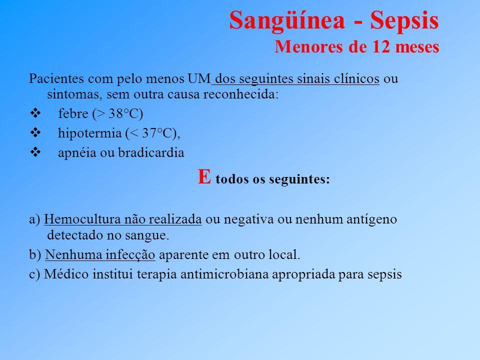 Sangüínea - Sepsis Menores de 12 meses Pacientes com pelo menos UM dos seguintes sinais clínicos ou sintomas, sem outra causa reconhecida: febre (> 38
