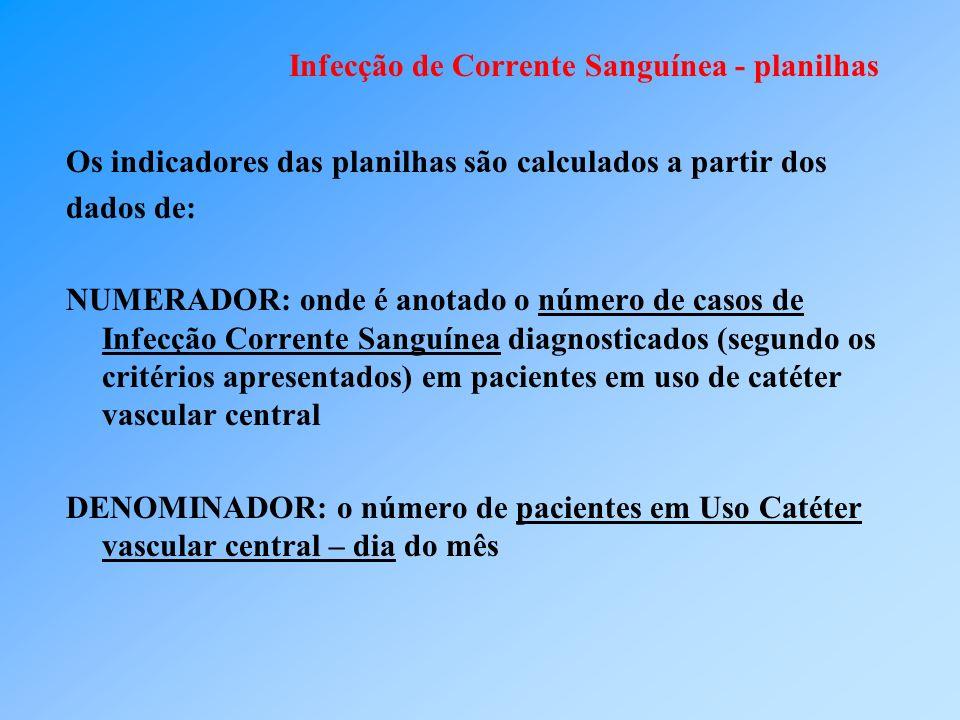 Infecção de Corrente Sanguínea - planilhas Os indicadores das planilhas são calculados a partir dos dados de: NUMERADOR: onde é anotado o número de ca