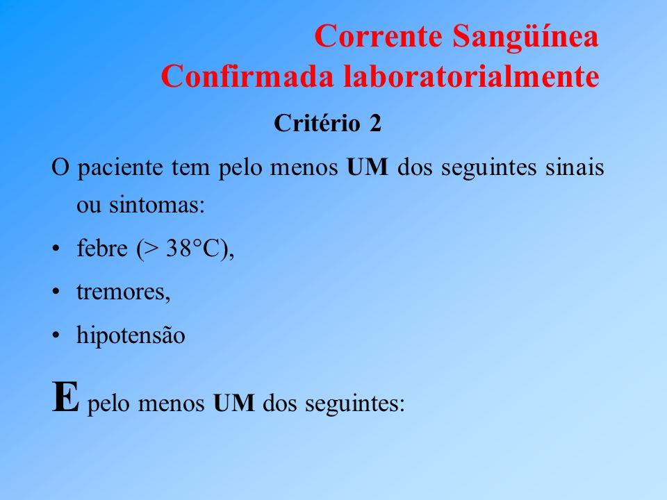 Corrente Sangüínea Confirmada laboratorialmente Critério 2 O paciente tem pelo menos UM dos seguintes sinais ou sintomas: febre (> 38°C), tremores, hi