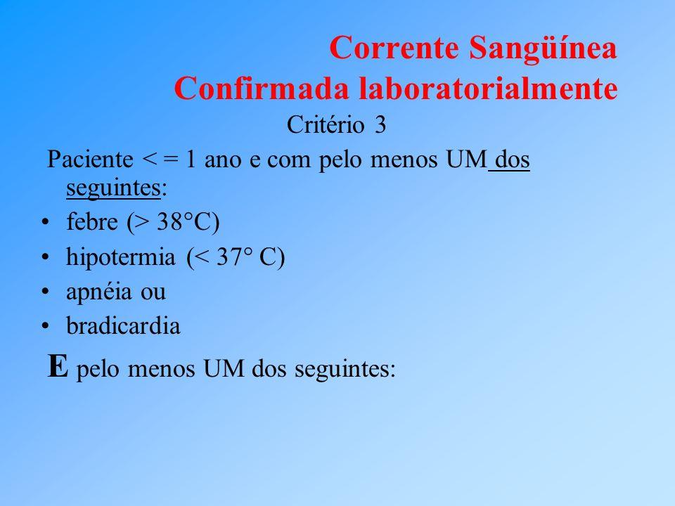 Corrente Sangüínea Confirmada laboratorialmente Critério 3 Paciente < = 1 ano e com pelo menos UM dos seguintes: febre (> 38°C) hipotermia (< 37° C) a