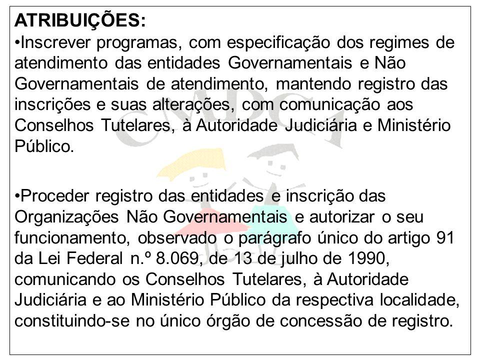 ATRIBUIÇÕES: Inscrever programas, com especificação dos regimes de atendimento das entidades Governamentais e Não Governamentais de atendimento, mante