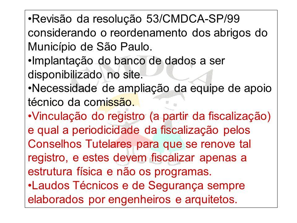 Revisão da resolução 53/CMDCA-SP/99 considerando o reordenamento dos abrigos do Município de São Paulo. Implantação do banco de dados a ser disponibil
