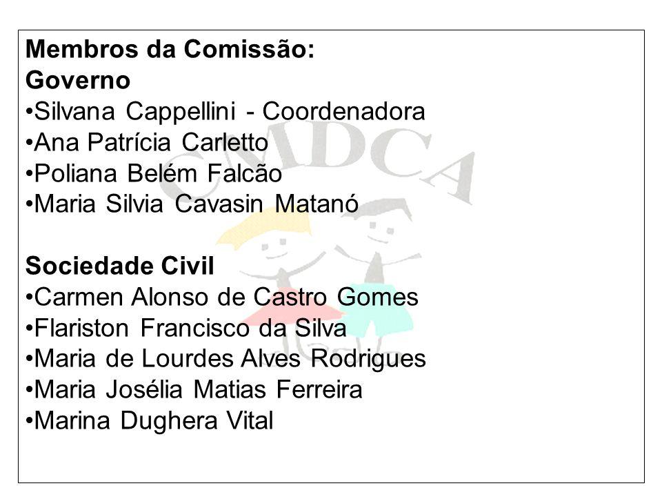 Membros da Comissão: Governo Silvana Cappellini - Coordenadora Ana Patrícia Carletto Poliana Belém Falcão Maria Silvia Cavasin Matanó Sociedade Civil