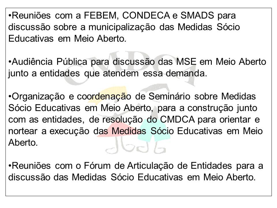 Reuniões com a FEBEM, CONDECA e SMADS para discussão sobre a municipalização das Medidas Sócio Educativas em Meio Aberto. Audiência Pública para discu
